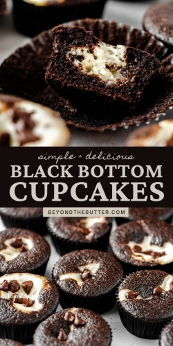 Pinterest images of Black Bottom Cupcakes from BeyondtheButter.com | All Images © Beyond the Butter®
