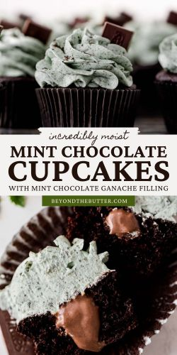 Pinterest images of mint chocolate cupcakes from BeyondtheButter.com | All Images © Beyond the Butter®