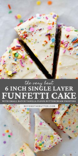 Images of single layer funfetti cake from BeyondtheButter.com | All images © Beyond the Butter®