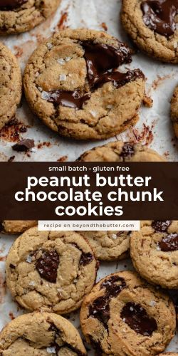 Images of small batch gluten free peanut butter chocolate chunk cookies from BeyondtheButter.com | © Beyond the Butter®