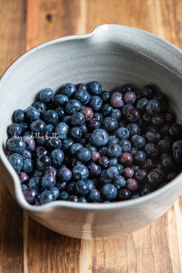 Ceramic bowl full of freshly rinsed blueberries   © Beyond the Butter®