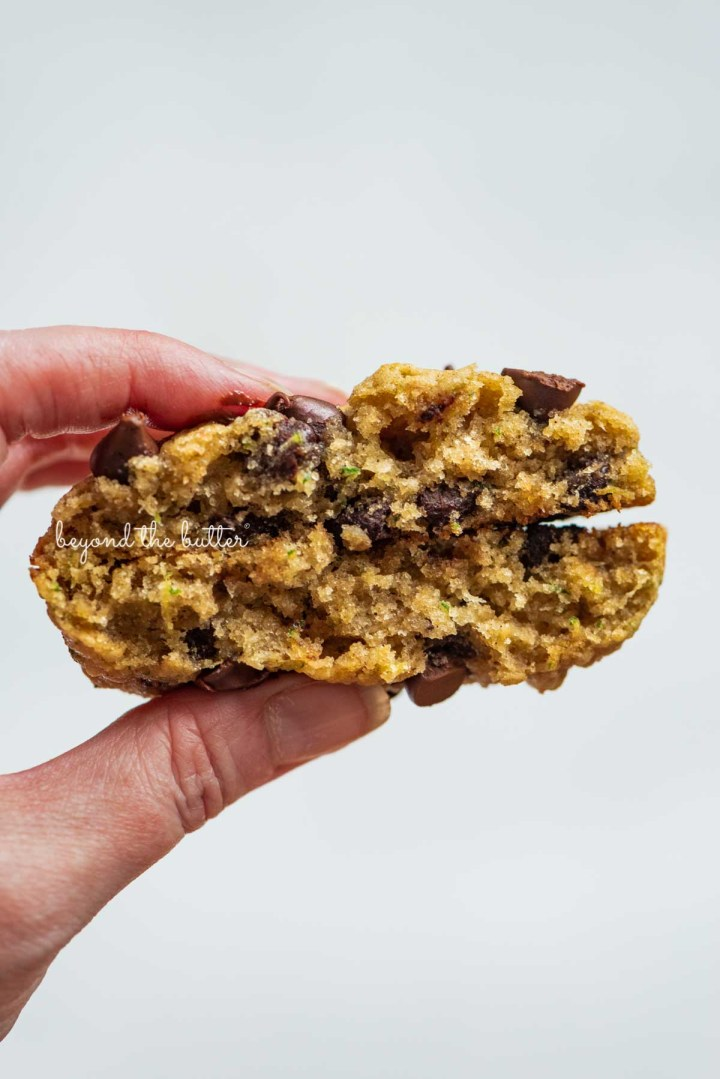 Inside shot of a zucchini chocolate chi oatmeal cookie from BeyondtheButter.com | © Beyond the Butter®