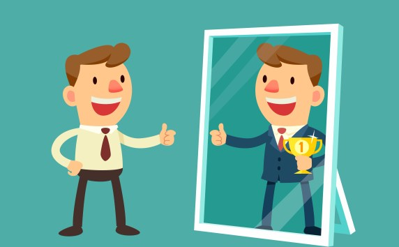 Illustration of business man see himself being successful in a mirror