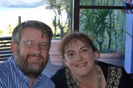 Geoff and I enjoying our anniversary lunch at Acqua Vista Restaurant, Ocean Beach