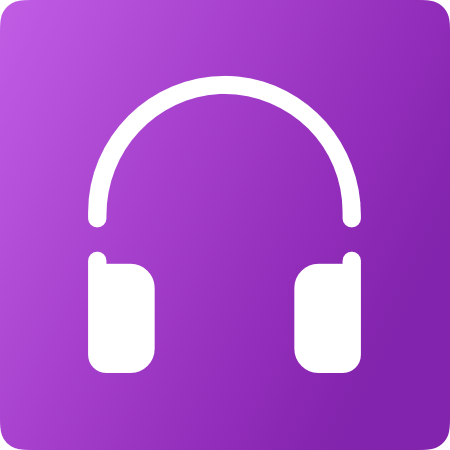 Picture of white headphones on a purple background.