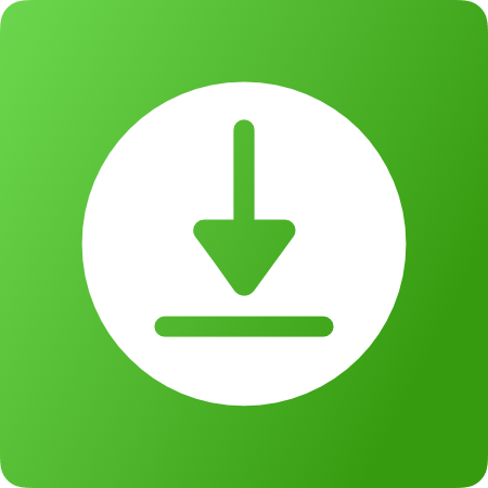 Download icon in green with green background and a white circe.