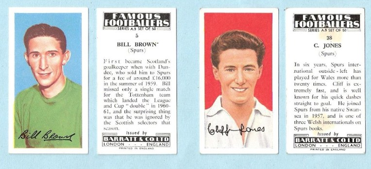 Bill Brown and Cliff Jones cigarette cards (1961)
