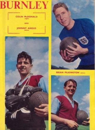 Colin McDonald, Johnny Angus and Brian Pilkington, Burnley 1959