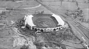 An aerial shot of Wembley with tens of thousands of fans inside & outside the ground