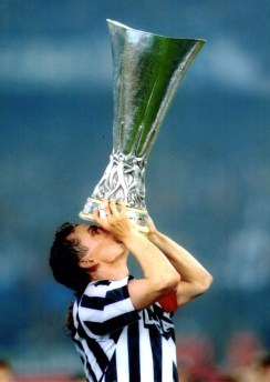 Roberto Baggio winning the UEFA Cup in 1993