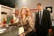 Tom (Paul Sass) stalks Sarah (Leslie Stevens) during rehearsal.
