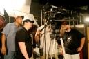 DoP Mike Lynch, Dir. Shawn Montgomery and 1st AD Van Hayden frame a shot.