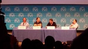 James Weaver, Evan Goldberg, Seth Rogen and Moderator Mark Gordon.