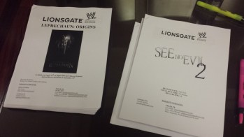 Press kits for See No Evil 2 and Leprechaun: Origins