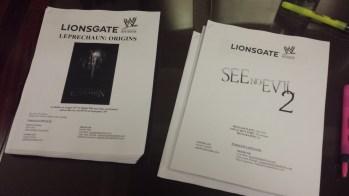 Press kits for See No Evil 2 and Leprechaun: Origins