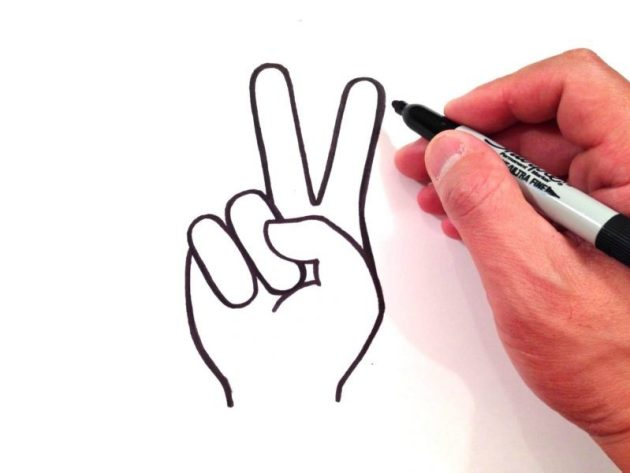 Victory Sign Drawing