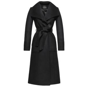 SENTALER – LONG WIDE COLLAR WRAP COAT, BLACK