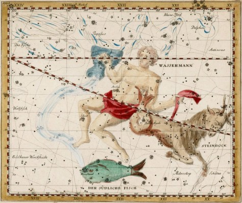 Capricornus, in the 'watery' part of the heavens. Click on the image for 'Star Tales' about this constellation.