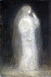 Matthijs Maris, The Bride, or Novice taking the Veil, 1887. Very misty and ghostly, so Piscean!