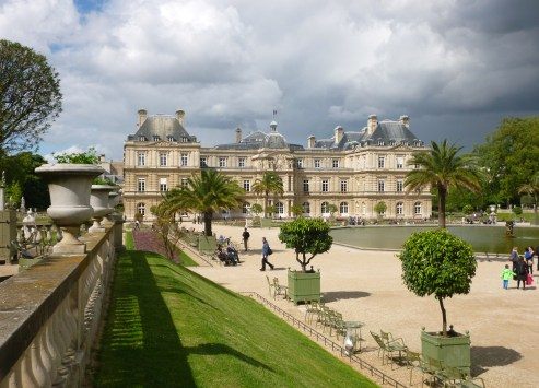 Palm and citrus trees, just moved out from the orangerie in the Jardin du Luxembourg, May 2015