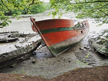 Graveyard of traditional wooden boats near Bono.