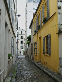 A bright yellow house hidden in a narrow back street in the 14th arrondissement.