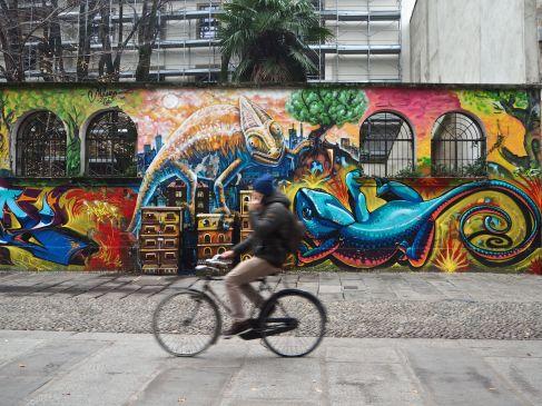 Bright street art on a foggy, grey day