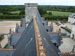 Ridge tiles, pinnacles and distant woods at the Chateau de Villandry - October 2016