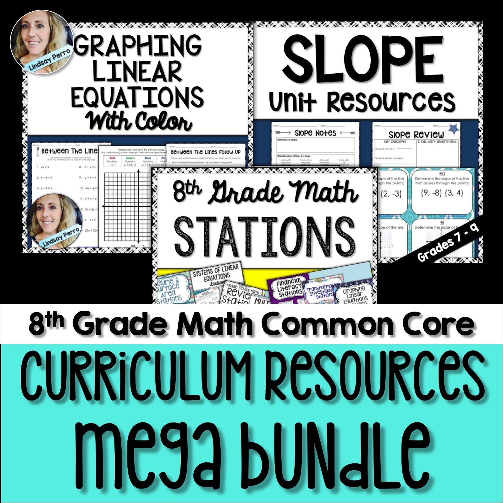 8th Grade Math Curriculum Resources Activity Bundle