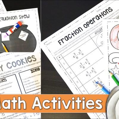 Halloween Activities in the Middle School Math Classroom