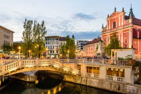City center in the soft evening light, Ljubljana