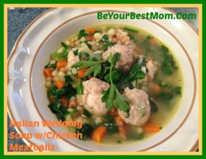 Italian Wedding Soup with Chicken Meatballs #Recipe #Foodie