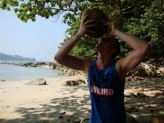 drinking the coconut