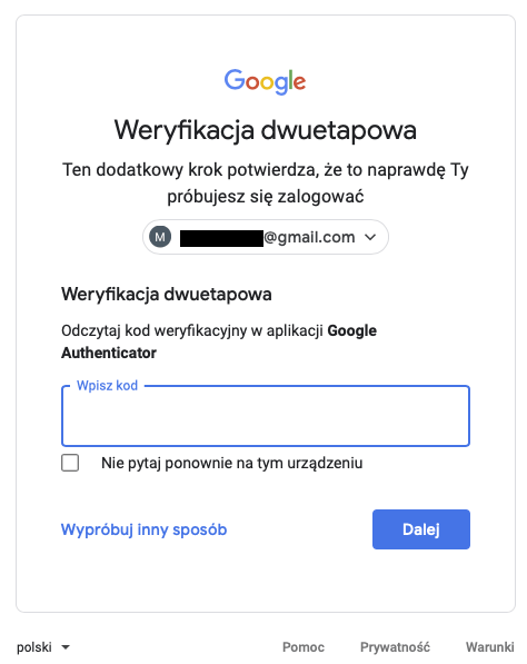 Kod z aplikacji