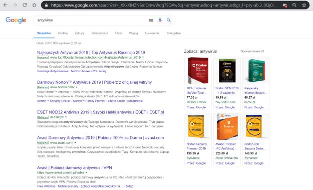 Obrazek przedstawiający wyniku wyszukiwania w Google, wraz z dużą liczbą reklam.