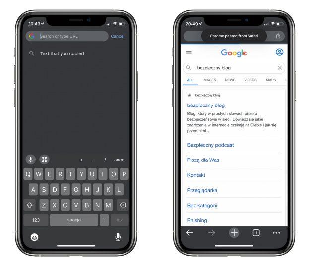 Powiadomienie o dostępie do schowka w Google Chrome, gdy w schowku jest tekst nie będący adresem URL