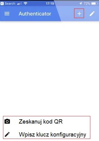 """Ilustracja 6. Parowanie nowego konta z aplikacją mobilną """"Google Authenticator"""""""