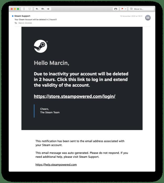 Ilustracja 1. Przykład phishingowej wiadomości e-mail, podszywającej się pod serwis Steam. Na pierwszy rzut oka wiadomość może nie wzbudzać podejrzeń