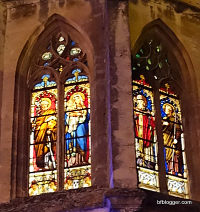 Stain glass windows to the Chapel des Duche upclose.