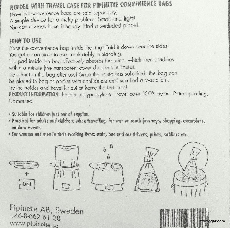 Pipinette Travel Kit instructions and diagram