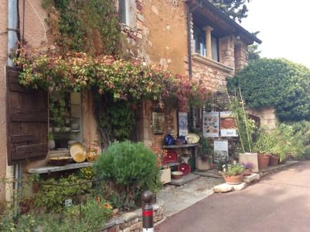Quaint shops sell ochre pottery
