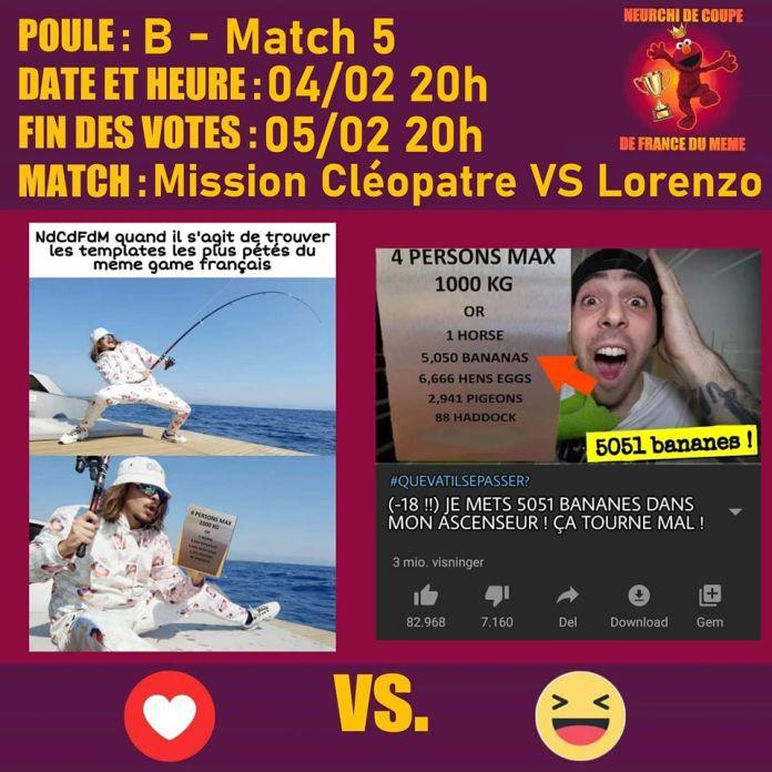 Match Lorenzo vs - Mission Cleopatre
