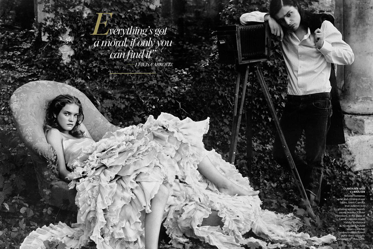 Natalia Vodianova (Alice) and Olivier Theyskens (artistic director)
