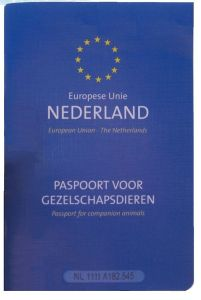 A typical looking pet passport from EU looks like the one in the picture.