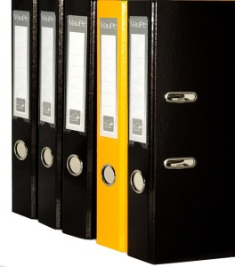 Binders black and one yellow