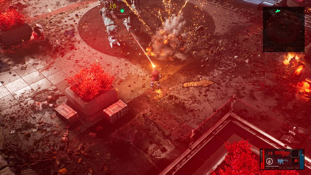 Mech shooting explosion on the floor