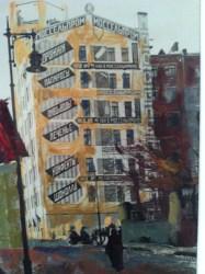 Alexander Rodchenko & Varvara Stepanova, Advertising-wall of Mossel prom building, 1924, (design A. Rodchenko, concept V. Mayakovsky) Artist's silver gelatin print, painted. Courtesy, private collection
