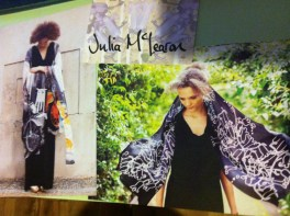 I adored Julia McLearon's (juliamclearon.com) digitally printed silk scarves with the juxtaposition of edgy, industrial designs on soft flowing, diaphanous silk.