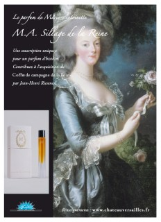 """MA Sillage de la Reine, Francis Kurkdjian. While doing research on Jean-Louis Fargeon, parfumeur to Marie-Antoinette, biographer Elisabeth de Fevreau unearthed notes on the queen's personal perfume. Originally named """" Le Trianon,"""" the perfume once used by the queen combines various scents including rose, iris, jasmine, orange blossom and sandalwood. The scent which was renamed """"M.A. Sillage de la Reine"""" was developed by French perfumer Francis Kurkdjian, who combined the ingredients after detailed research. He adhered strictly to the 18th-Century custom of combining """"100% natural primary materials"""" and the scent is """"intensely floral"""". It should be no surprise to anyone that since its launch in 2006, MA Sillage de la Reine is no longer available from Versailles."""