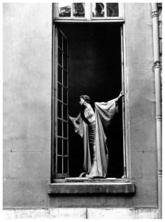 Lisa Fonssagrives in gown and evening wrap by Jacques Fath, Rue de Varennes, Paris, 1949, Photo Fernand Fonssagrives via PleasurePhoto.wordpress.com